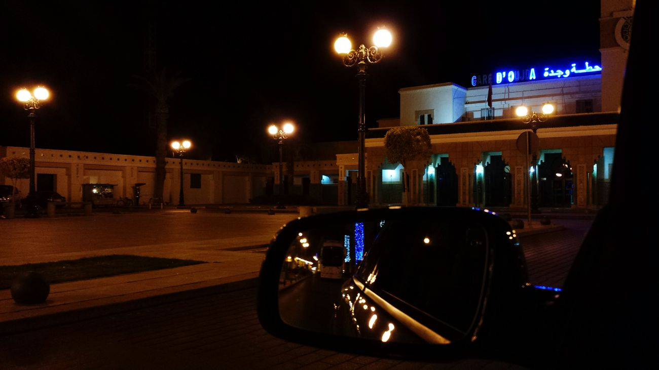 Oujda City, Morocco سبحانك ربي الحمد_لله Morocco Beautiful Colors Train Station Train Station Oujda Car Mirror Lights Evening Lights Oujda City Oujda My City City Life Urban
