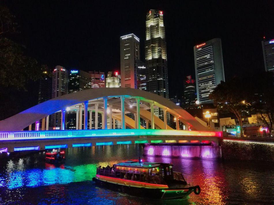 Elgin Bridge illuminated with ranbow colors Architecture Illuminated Night City Travel Destinations Multi Colored Tourism Outdoors Singapore Clarke Quay Elgin Bridge Bridge Boats⛵️ EyEmNewHere