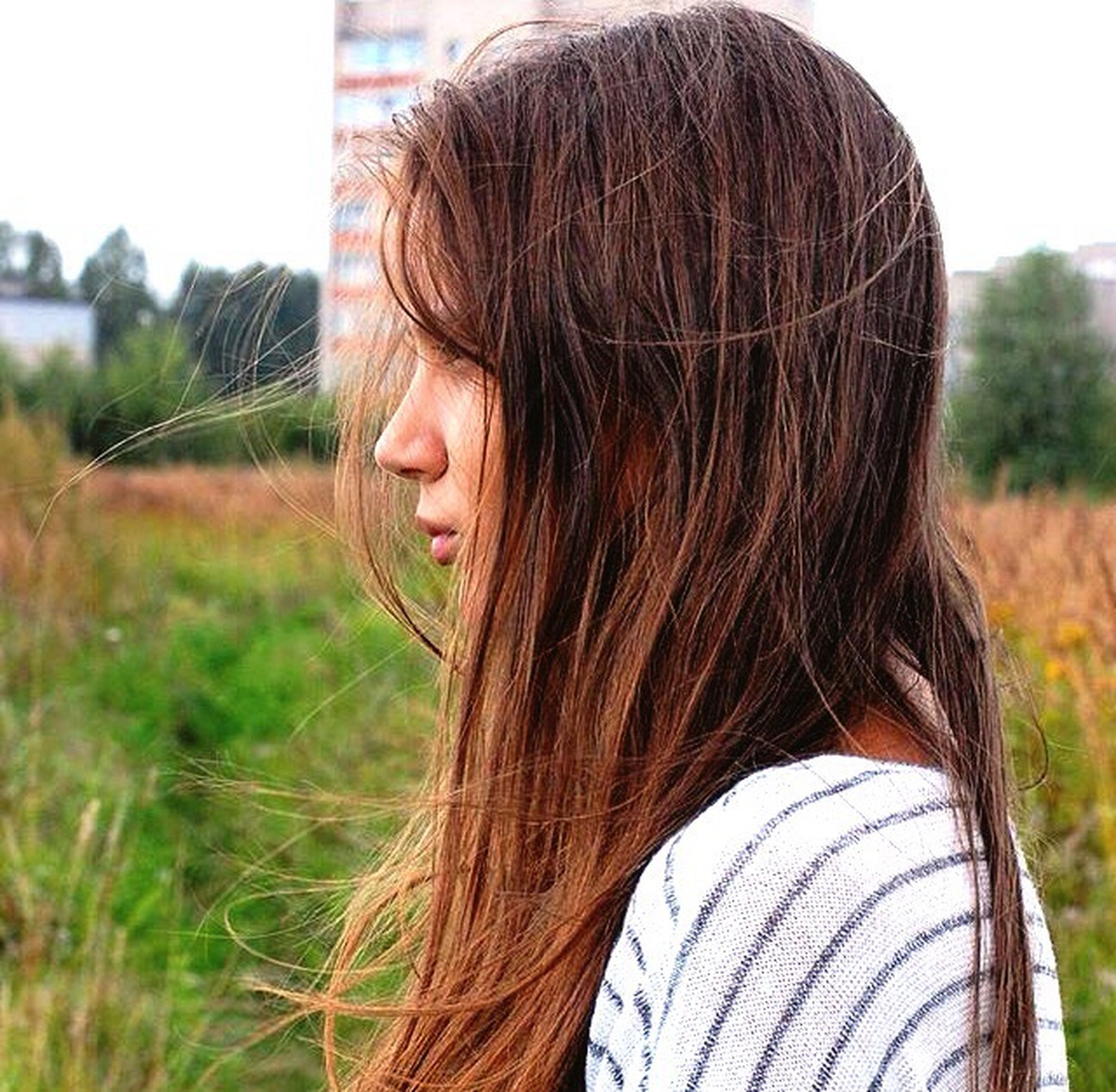 long hair, lifestyles, blond hair, person, leisure activity, focus on foreground, rear view, brown hair, young women, waist up, standing, casual clothing, headshot, childhood, young adult, field, human hair, elementary age