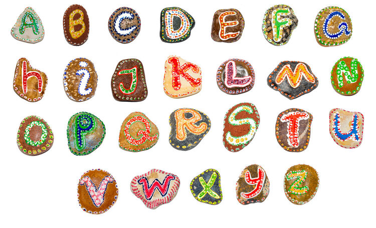Alphabet painted on stones - all letters ABC Alphabet Detail Handmade HandPainted Isolated On White Letter A Letter B Letter C Letter D Letter E Letter G Letter H Letter I Letter J Letter K Letter M Lettering Outdoor Rock Single Letter Stone Text Vacation Vibrant