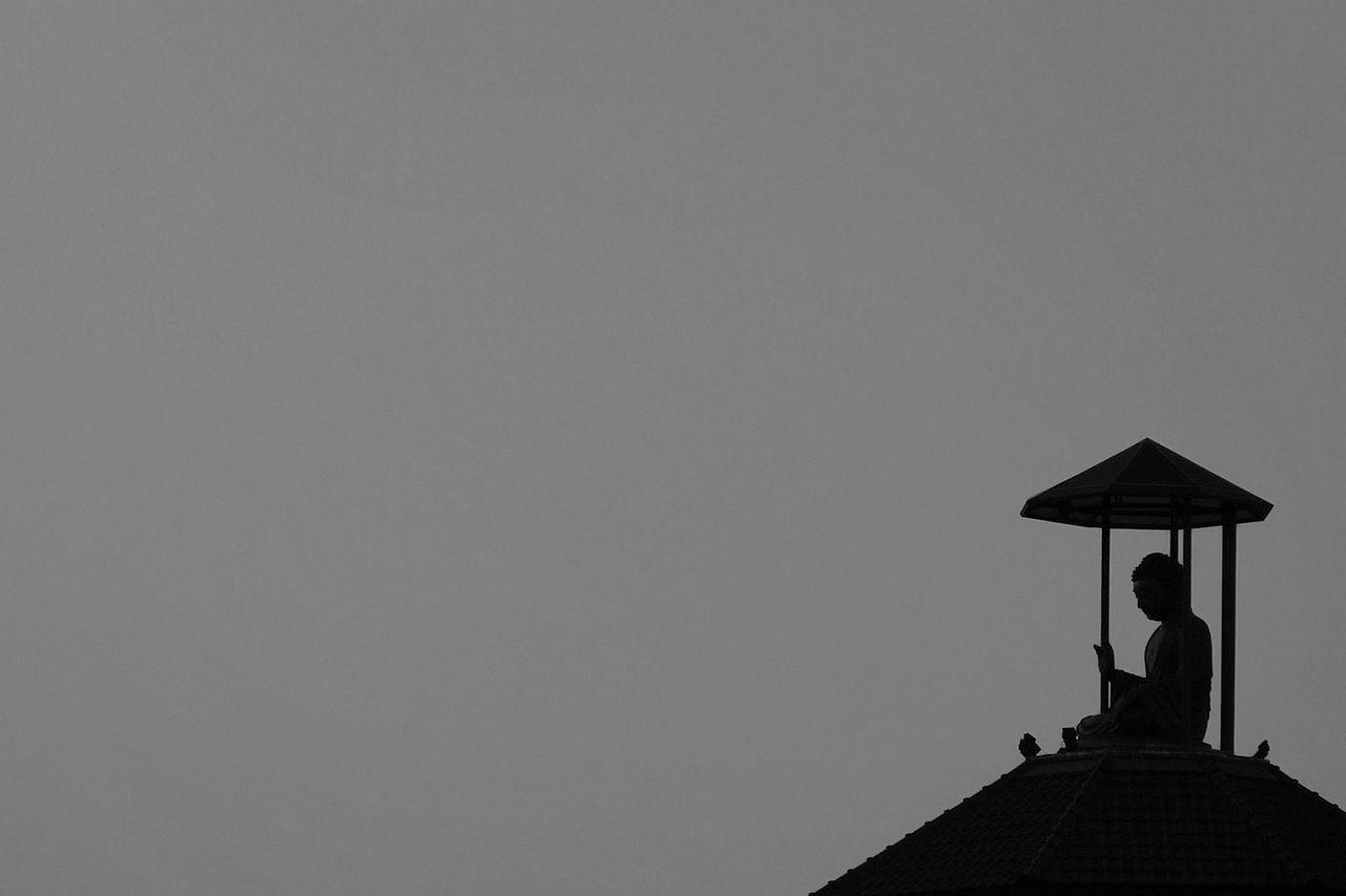 Buddha Calm Clear Sky Grey Meditation Minimalism Minimalist Architecture Roof Shelter Spirituality Top