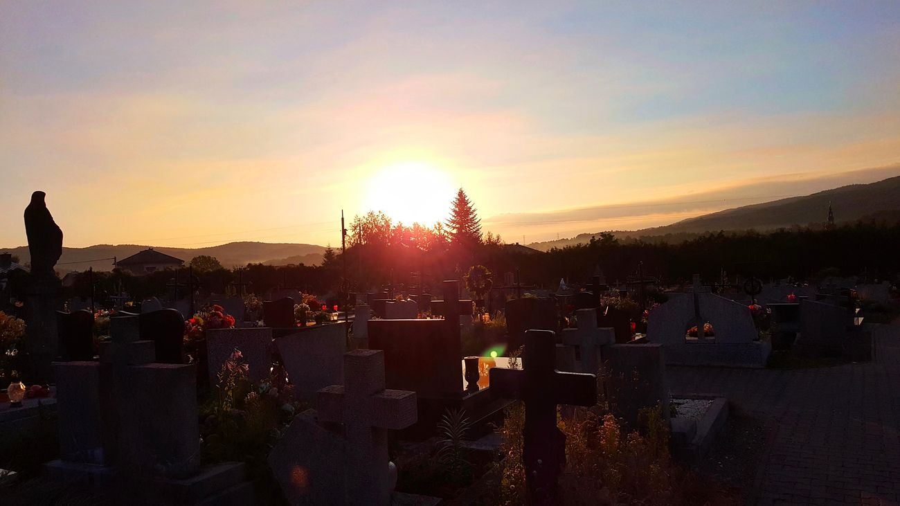 I know, kinda weird place to take photos. But sun, 5 AM, quite nice view. Anyway this is the place where each of us will be :D Architecture Built Structure Cemetery Day Flag Graveyard No People Outdoors Place Of Worship Religion Sky Spirituality Sunset