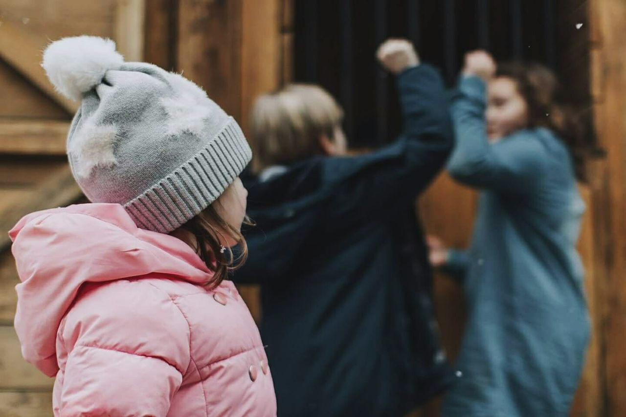 Being the little sister is hard sometimes. Siblings Friends Children Exceptional Photographs Exclusion Family People Winter Cold Weather Hats Gymboree Coat