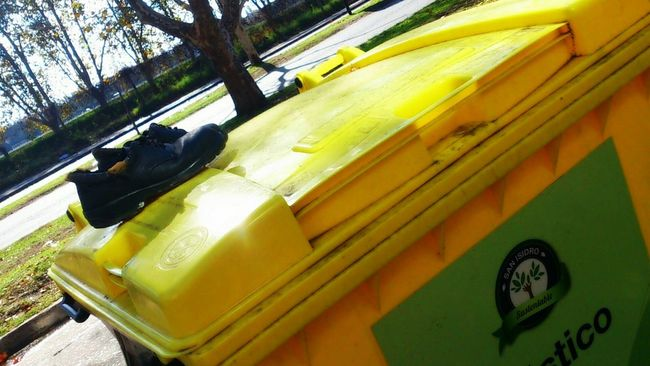 Shoes... Yellow Outdoors Vibrant Color Mode Of Transport Buenos Aires, Argentina  No People Sundaymorning Surprise! Garbage Bin