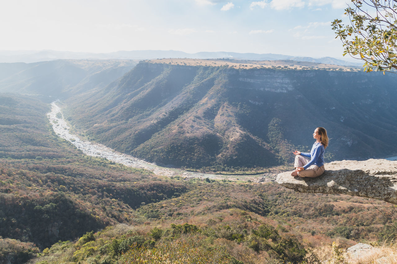 Backpacking Beauty In Nature Calm Canyon Gorge High Landscape Ledge Leopards Rock Meditation Mountain Mountain Range Oribi Gorge Overhang Scenic Scenics Sky Sky And Clouds South Africa Tranquil Scene Tranquility Tranquility Traveling View From Above Woman