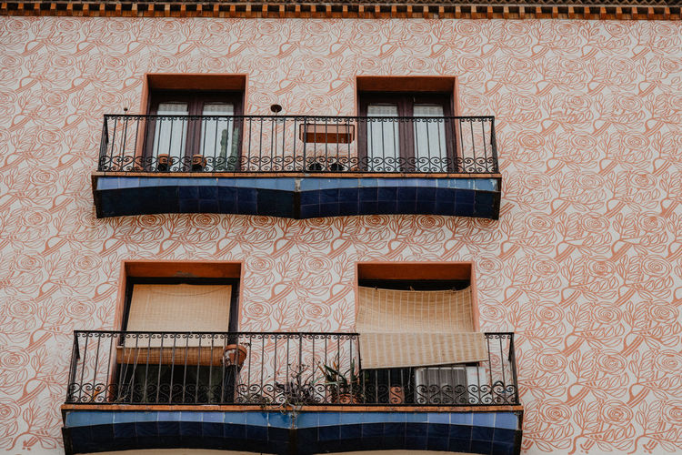 Architecture Barcelona Barcelona, Spain Wall Wallart Architecture Balcony Balcony Life Building Exterior Built Structure Closed El Born Frame House No People Open Orange Color Outdoors Railing Residential Building Rosé Sgraffiti Walls Window Window Box