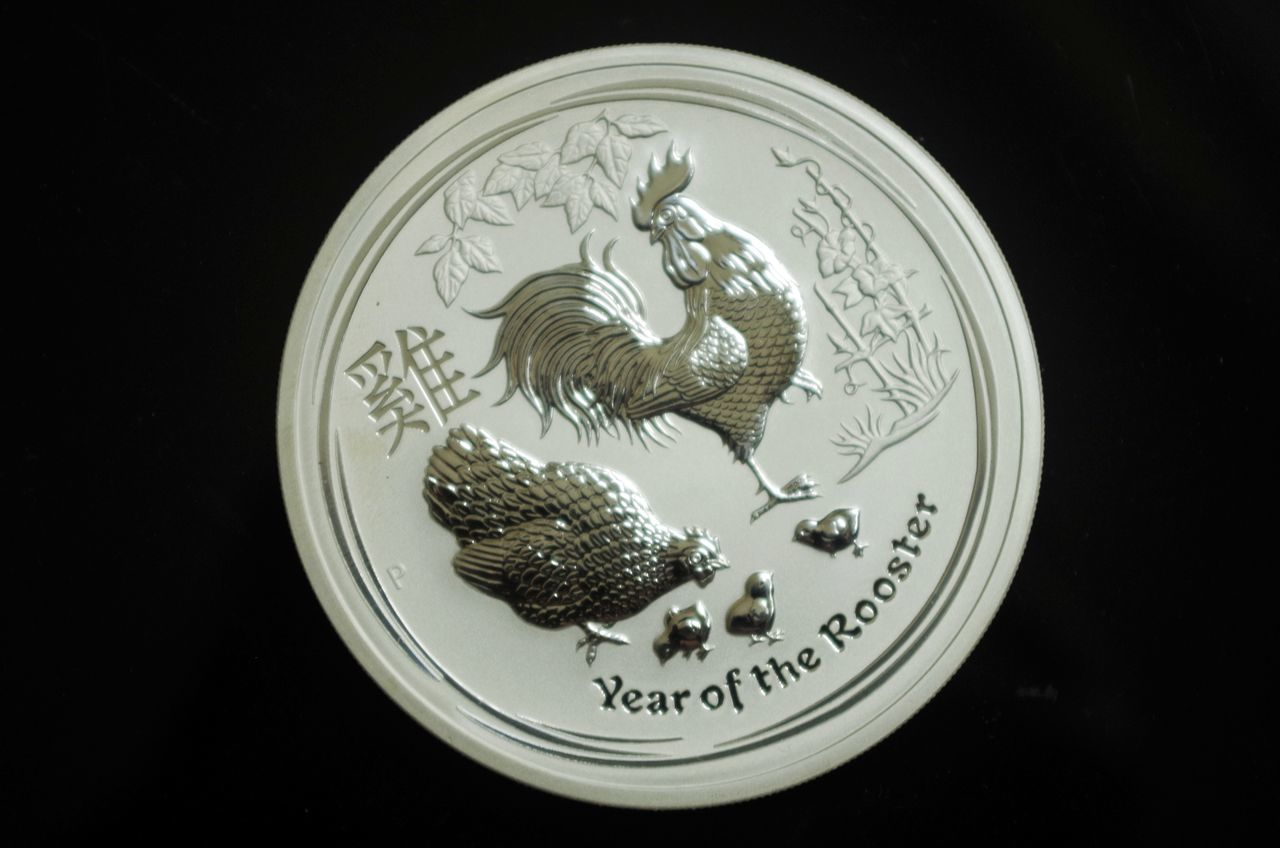 Rooster Close-up Black Background Coin Chicken Chinese New Year Astrology Astrology Sign Money Silver  Sterling Silver Numismatic