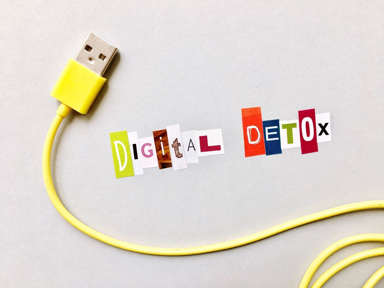 I need a break... Alphabet Break Cable Communication Detox Digital Digital Detox Digital Life Freelance Life Interruption Letters Multi Colored Pause Still Life White Background Yellow