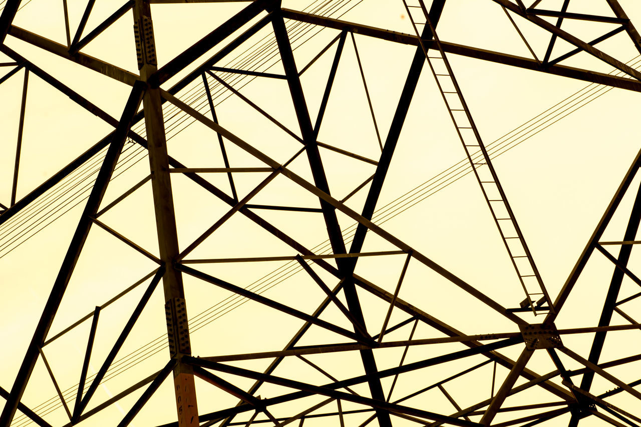 the graphic line on the light yellow background Architecture Black Line Connection Electricity  Full Frame Geometric Shape Graphic Design Grid Low Angle View Metal No People Pattern Power Line