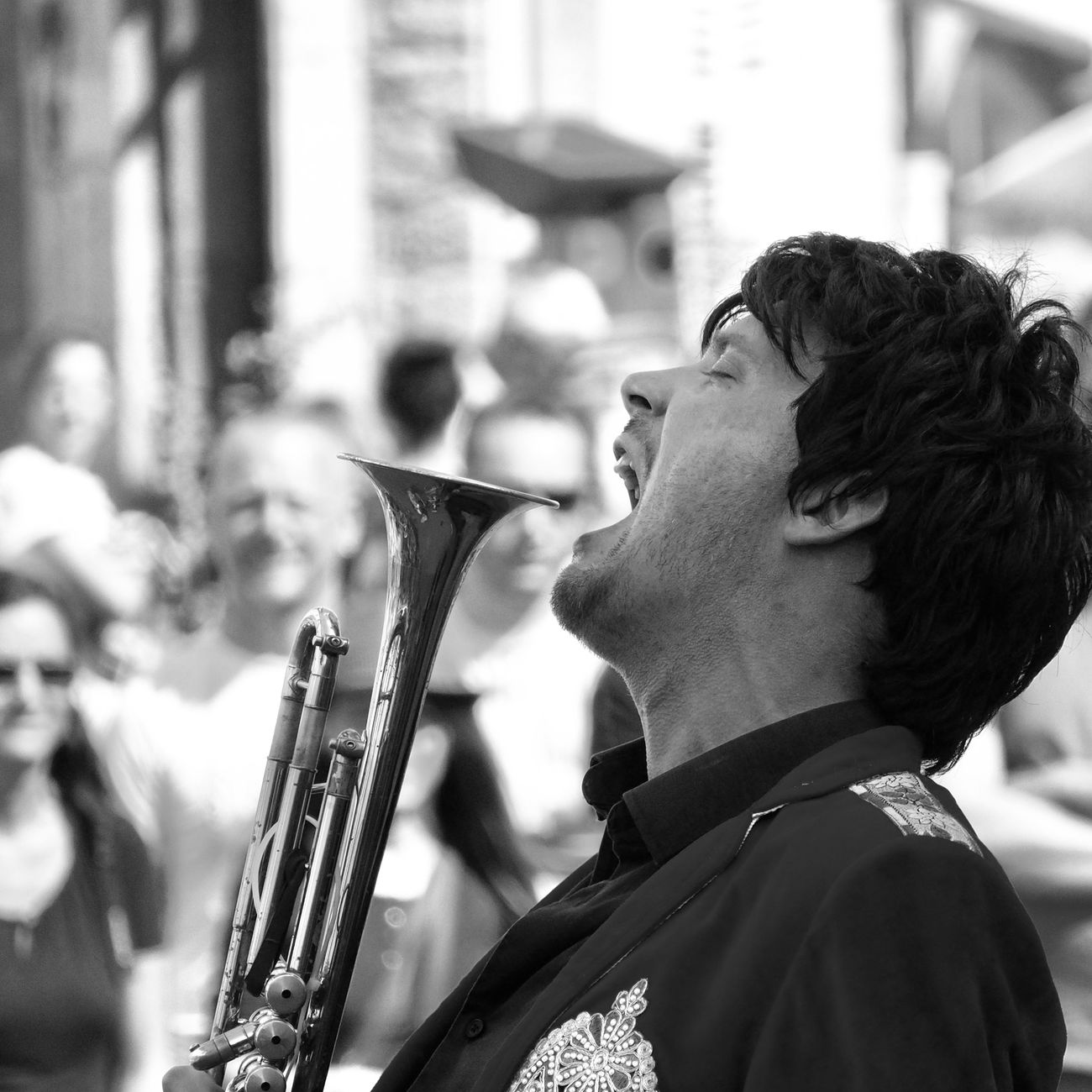 Black And White Photography Close-up Day Fanfare Focus On Foreground Music Musician One Person Outdoors Playing Real People Scream Side View Sing Uniform