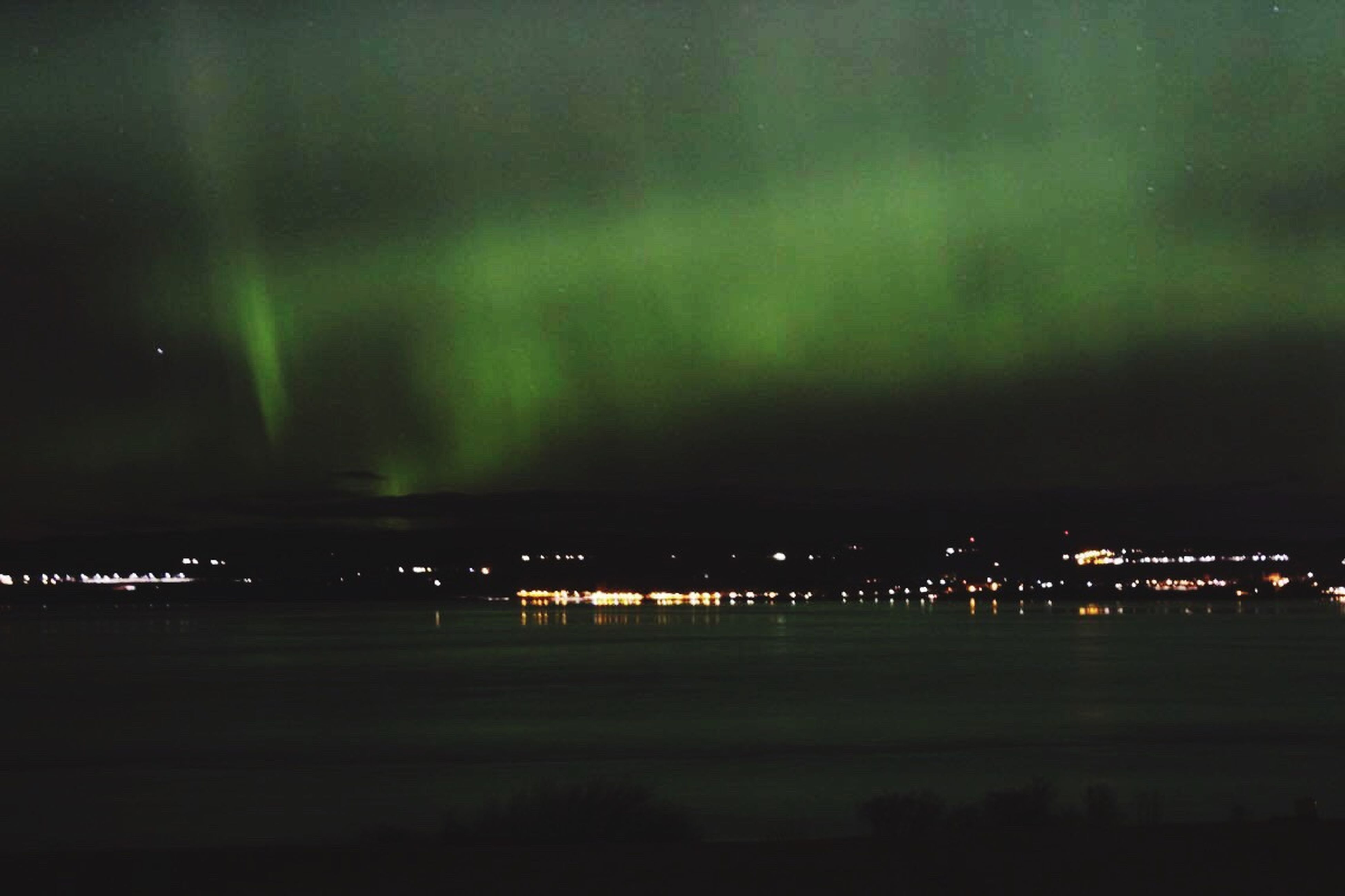 Northern Lights Green In The Sky Illuminated Sky Dramatic Sky