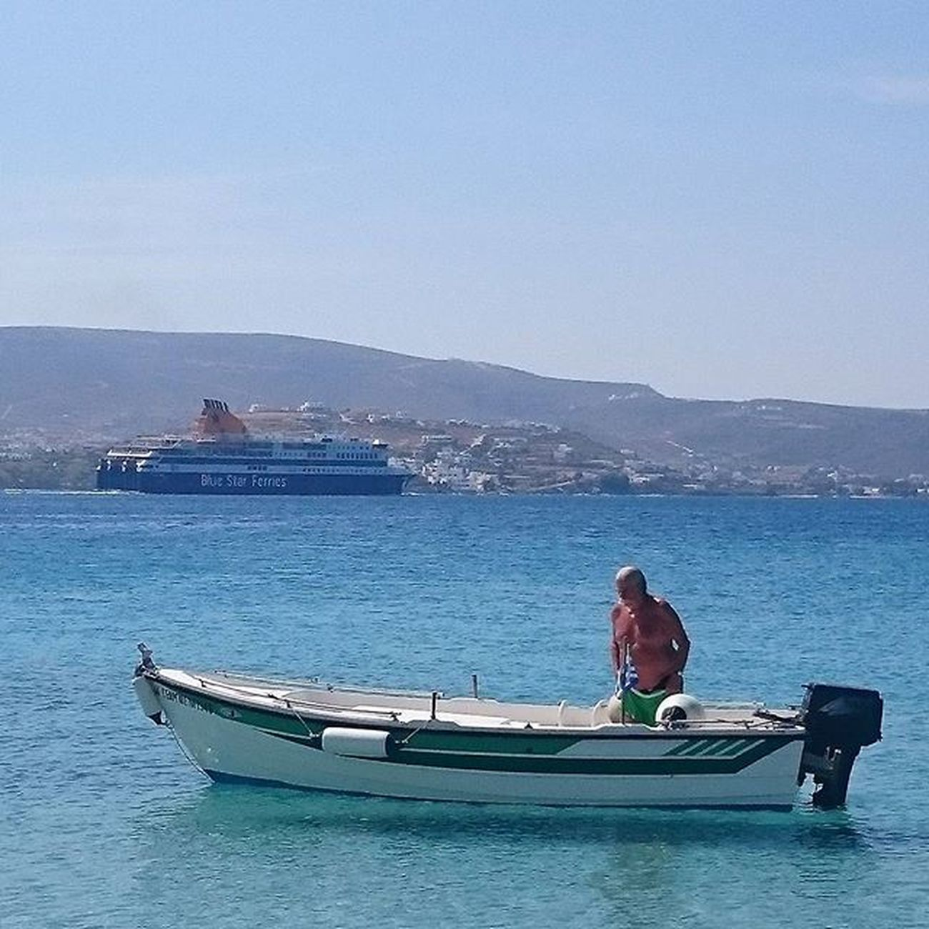 BIG BOAT. SMALL BOAT. KRIOS BEACH, PAROS. Krios Kriosbeach Parikia Greekislands Greece Greeceinstagram Paro Paros Parosiland Iloveparos Boat Boats Ferry Sea Seaescape Fish Fishing Enjoy Cyclades_islands Cyclades Blue Summer Sumneringreece Cyclades_islands Cyclades