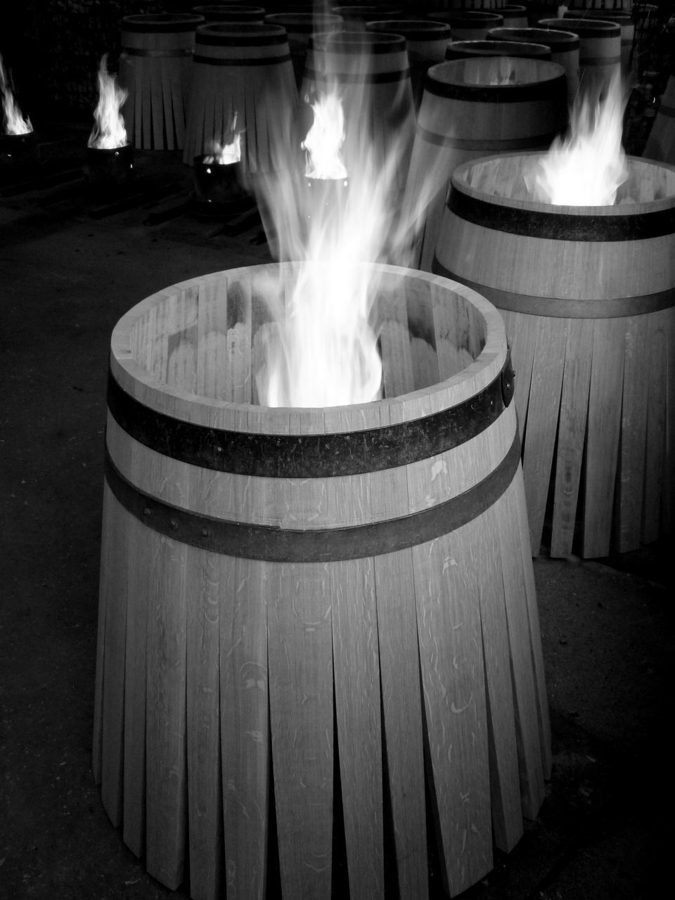 heat - temperature, burning, barrel, flame, motion, indoors, no people, day, wine cask
