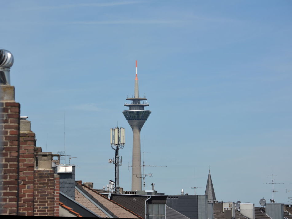 Architecture Blue Sky Bricks Built Structure Capital Cities  Chimney Chimneys Communications Tower Mobile Mast Modern No People Roof Roofs Roofs And Towers Sky Duesseldorf Bilk Bilk, Duesseldorf Nrw Germany Northrhein Westfalia North Rhine Westfalia North Rhine-westphalia