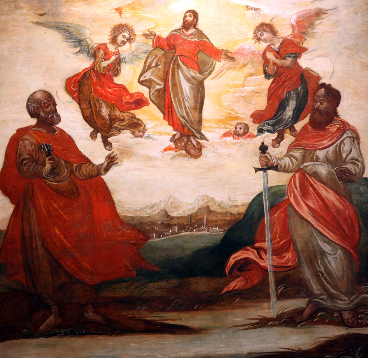 Ascension of Christ with St. Peter and St. Paul Altar Art Ascension Belief Christ Christianity Church Croatia Faith Holy Jesus Patron Paul Peter Religion Religious  Saint Spiritual Spirituality Worship