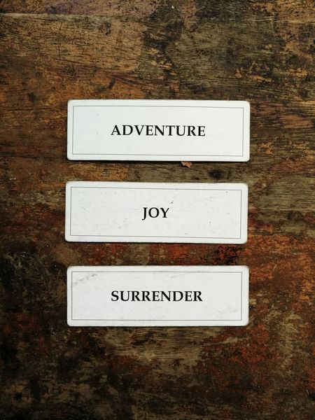 Text Western Script Communication High Angle View Directly Above Close-up Indoors  Vintage Vintage Style Wood - Material Fortune Telling Joy SURRENDER Adventure Words Destiny Cards Cards On The Table Wordsoftheday Word Photography No People EyeEmNewHere Future