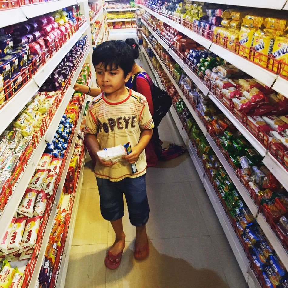 My Son Harshit looking his Favourite Chocolate in Shopping Mall