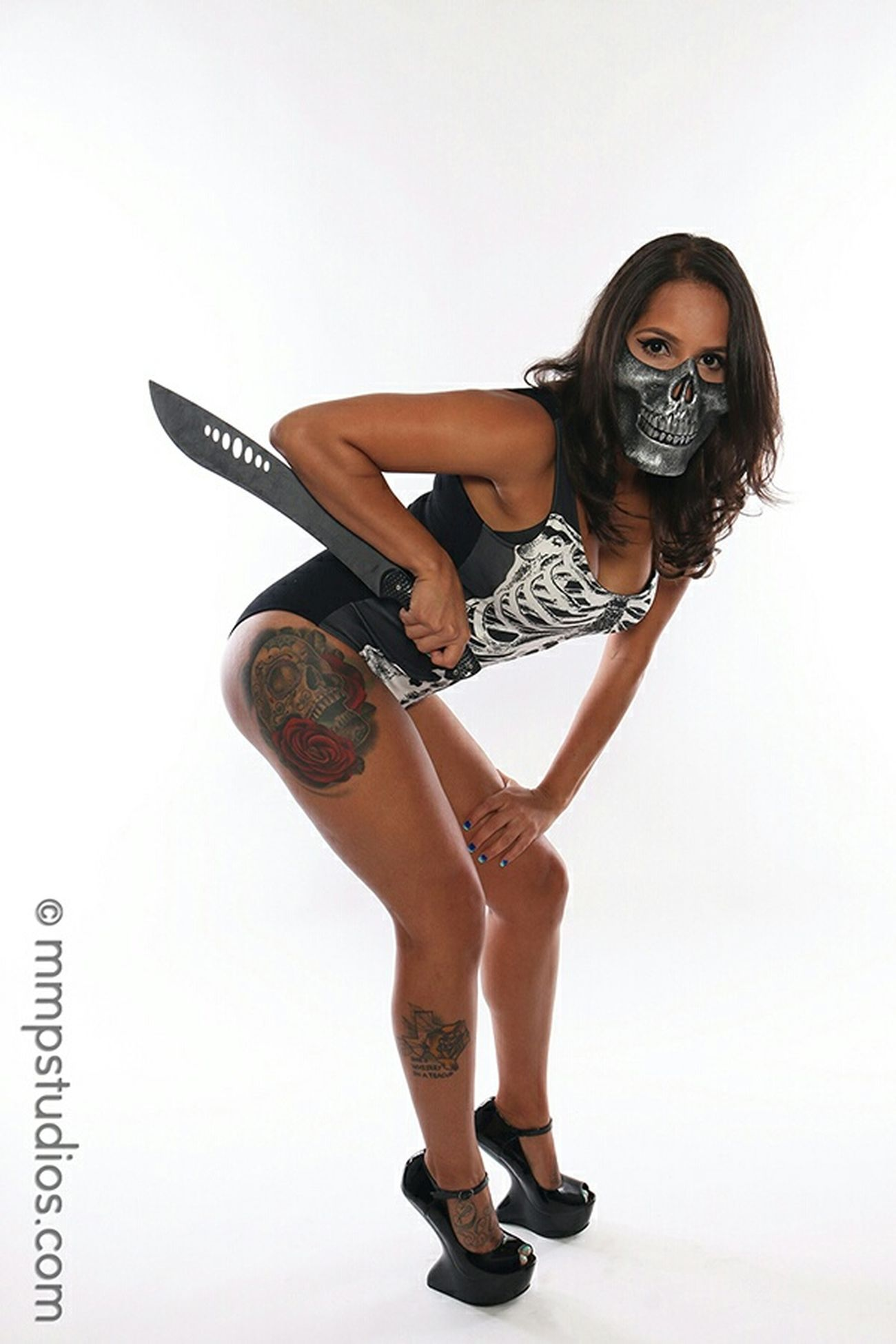 @melvinmaya @mmpstudios_com Photography Photoshoot Model Brunette Masked Skull Mask Machete Skull And Bones Leotard Gravity Heels Eyes Tattoos Inked Studio Shoot Houston Texas Random People Followme