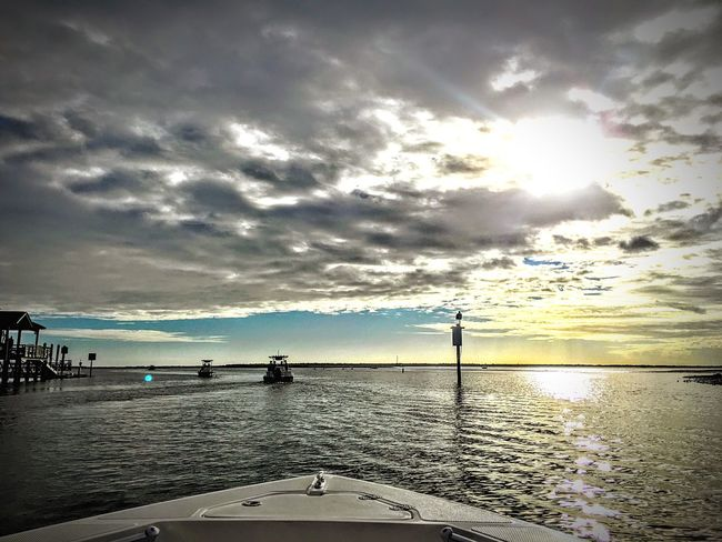 Southern Life Sky Water Sea Cloud - Sky Outdoors Nature Scenics Sunset Horizon Over Water Beauty In Nature Day Architecture Nautical Vessel No People Beach Charleston SC Harbor Harbour Clouds And Sky Tranquil Scene Boats Cloudscape Sunbeam Waterfront
