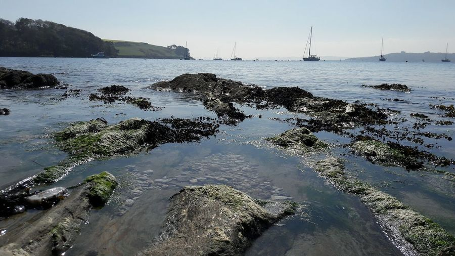Beach Water England 🇬🇧 Sunny Day 🌞 St Mawes Landscape Tranquility Nautical Vessel