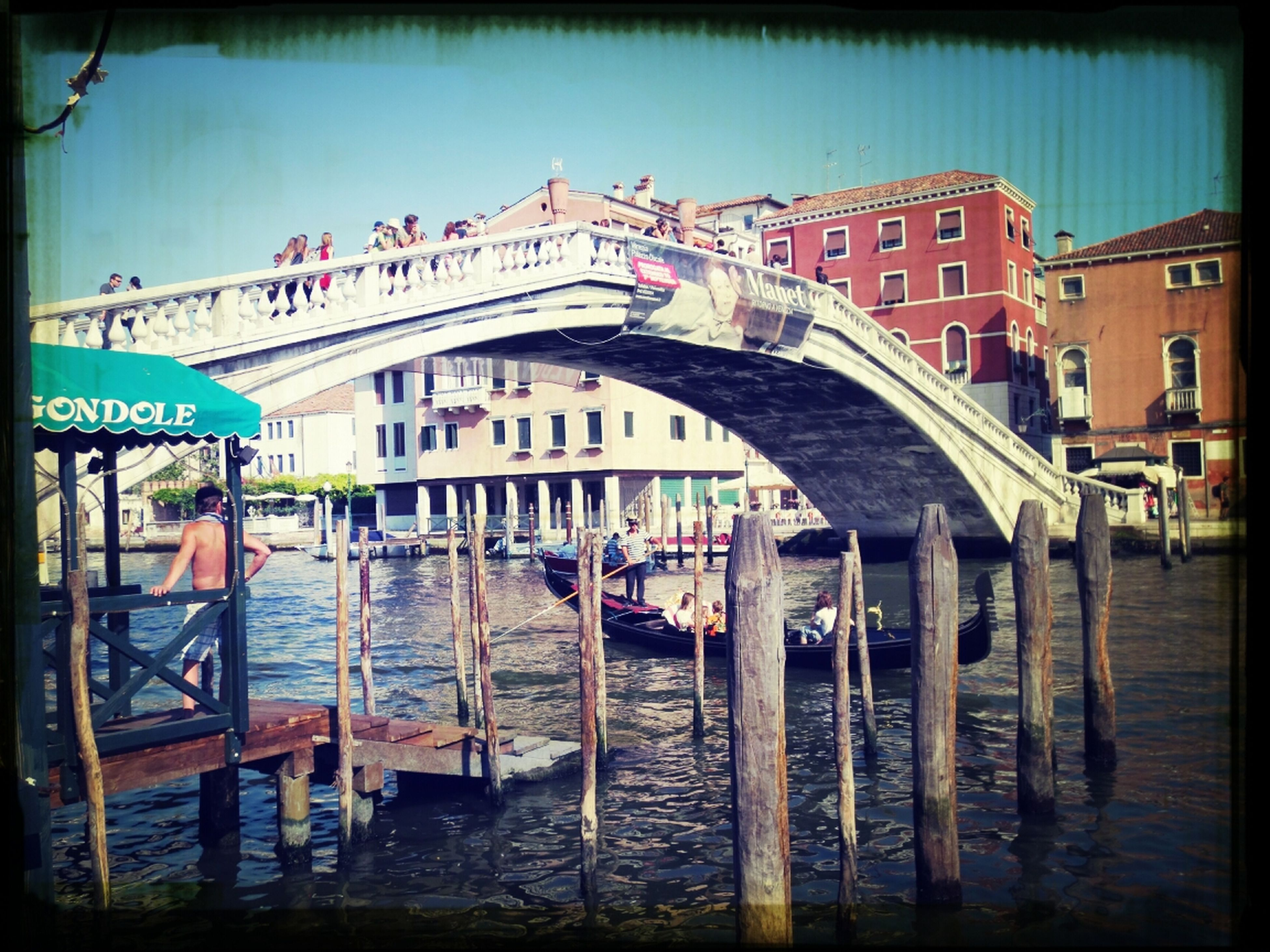 architecture, built structure, transfer print, building exterior, water, auto post production filter, canal, waterfront, sky, residential structure, nautical vessel, residential building, incidental people, river, house, day, city, transportation, outdoors, railing