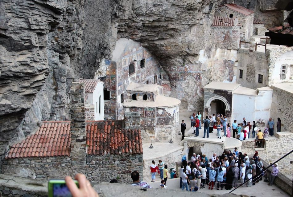 trabzon sumela monastery Architecture Building Exterior Built Structure Casual Clothing Crowd Day Envision The Future Fresco Large Group Of People Leisure Activity Mixed Age Range Mobile Phone Camera Mural Art Old Monastery Outdoors Painting Art Tourism Tourist Travel Destinations