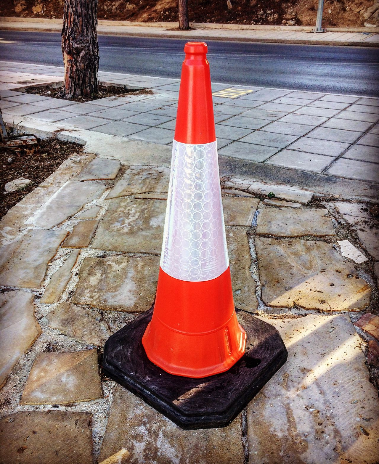 Traffic Cone Road Warning Boundary Cone Outdoors Red Safety Sign Street Traffic Urban White Danger No People Day Road Sign