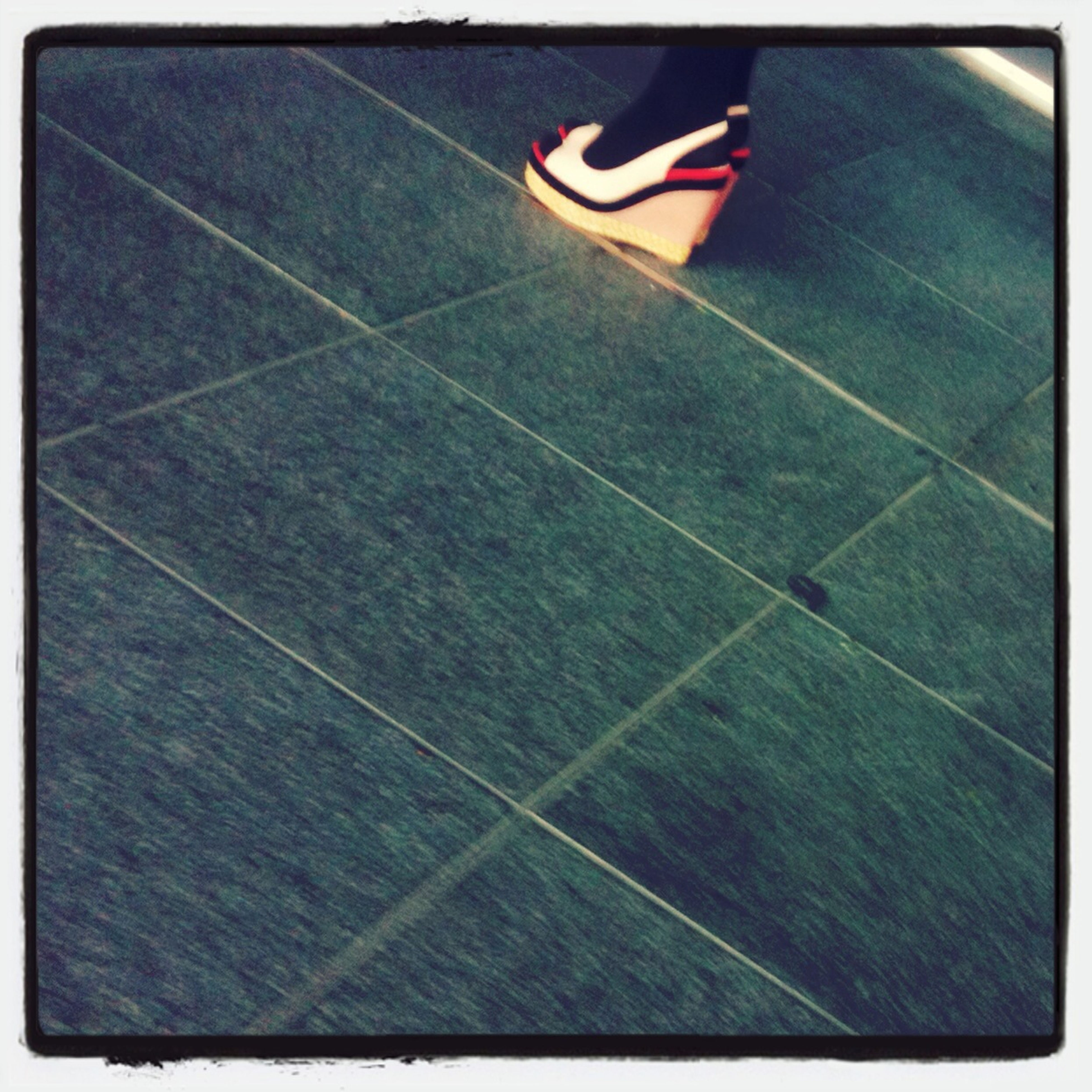 transfer print, auto post production filter, low section, high angle view, person, shadow, part of, street, pattern, day, outdoors, sunlight, shoe, transportation, tiled floor, road marking, sport