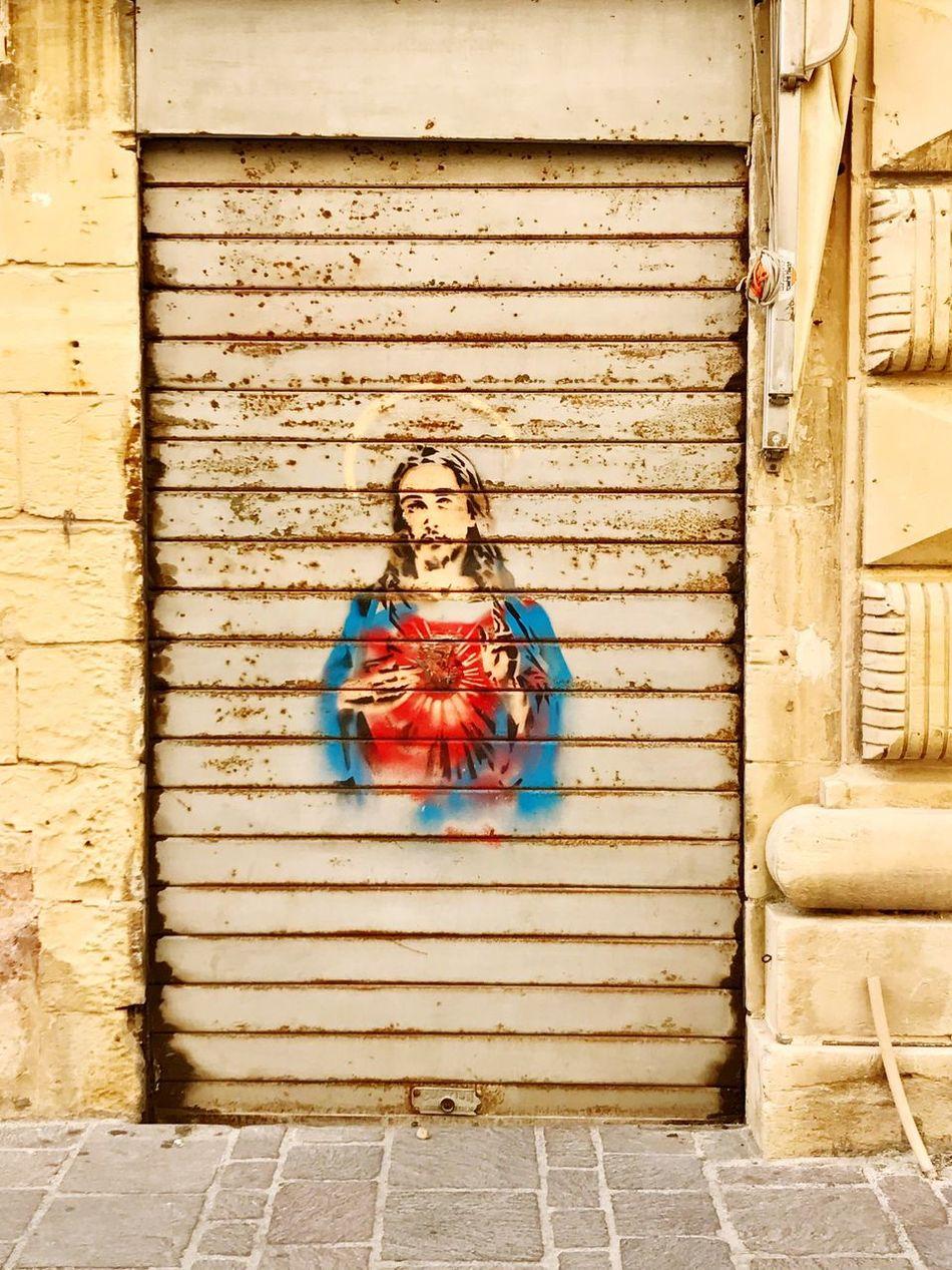 jesus! Malta Valetta Garage Door Garage Jesus Holy Street Art Portrait Catholic Religion Façade Art And Craft Faith Piety Devotion Street