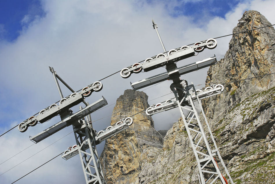 chair-lift pylons, Jungfraujoch, Oberland Bernese, Switzerland Alpine Alps Cable Car Cablecar Cables Cableway Chair Lift Cloud - Sky Europe Infrastructure Jungfrau Mountain Mountains No People Outdoors Plant Pylons Skilift Swiss Switzerland Transportation