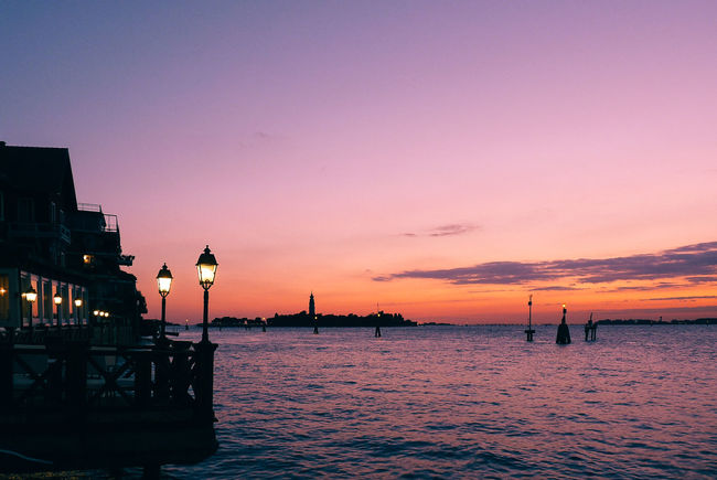 Serenity by the sea Beauty In Nature Built Structure Dusk Europe Idyllic Italy Lido Di Venezia Nature No People Ocean Orange Color Outdoors Scenery Scenics Sea Sky Sunset Tranquil Scene Tranquility Travel Destinations Wanderlust Water