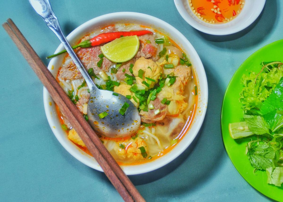 Banh Canh Gio Heo Bowl Bun Bo Hue Bánh Canh Cá Close-up Day Directly Above Food Food And Drink Freshness Garnish Healthy Eating High Angle View Indoors  No People Pho Plate Ready-to-eat Seafood Serving Size Soup Table