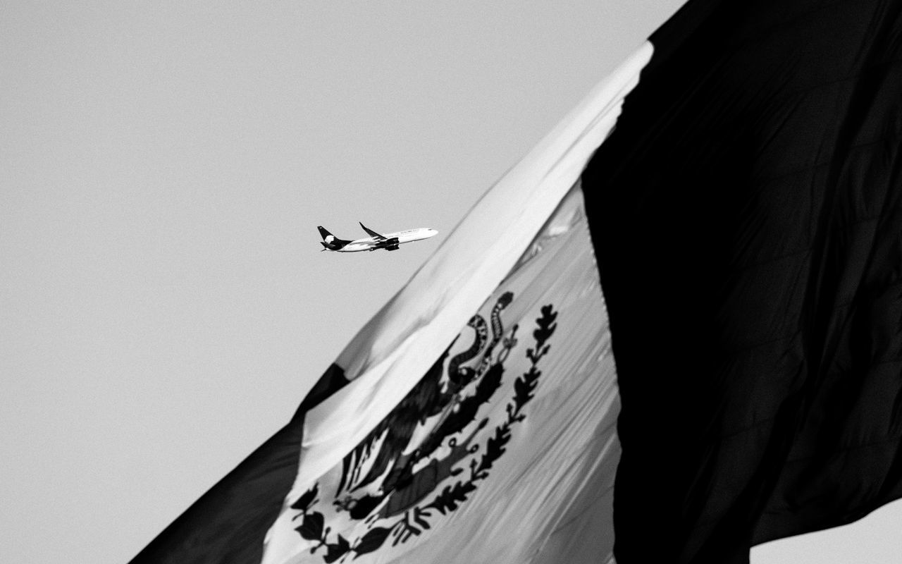 Beautiful stock photos of mexican flag, Air Vehicle, Airplane, Day, Flying