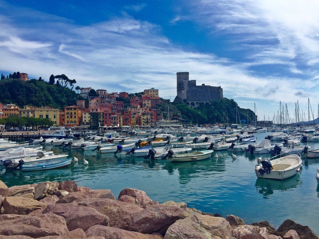 Lerici Golfo Dei Poeti La Spezia Italian Riviera Liguria Italy Italia Travel Travel Photography Beautiful Destination Rocks Boats Harbour