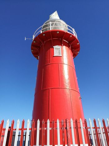 Tower Red Blue Business Finance And Industry Freemantle Architecture Built Structure Industry Clear Sky Lighthouse Outdoors Archival No People Day