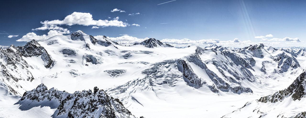 Panorama of Wildspitze, Pitztal, Austria Alps Alto Adige Austria Crevasse Glacier Kaunertal Landscape Mountain Outdoors Panorama Panoramic Pitztal Pitztaler Gletscher Ski Ski Mountaineering Skiing Snow Südtirol Taschachferner Tirol  View Weisskugel Wildspitze Winter ötztal