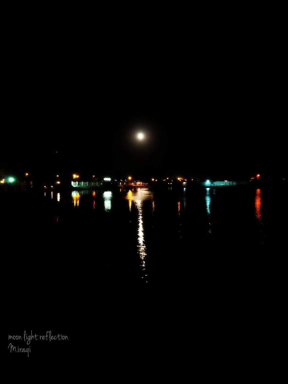 night, illuminated, no people, outdoors, water, sky