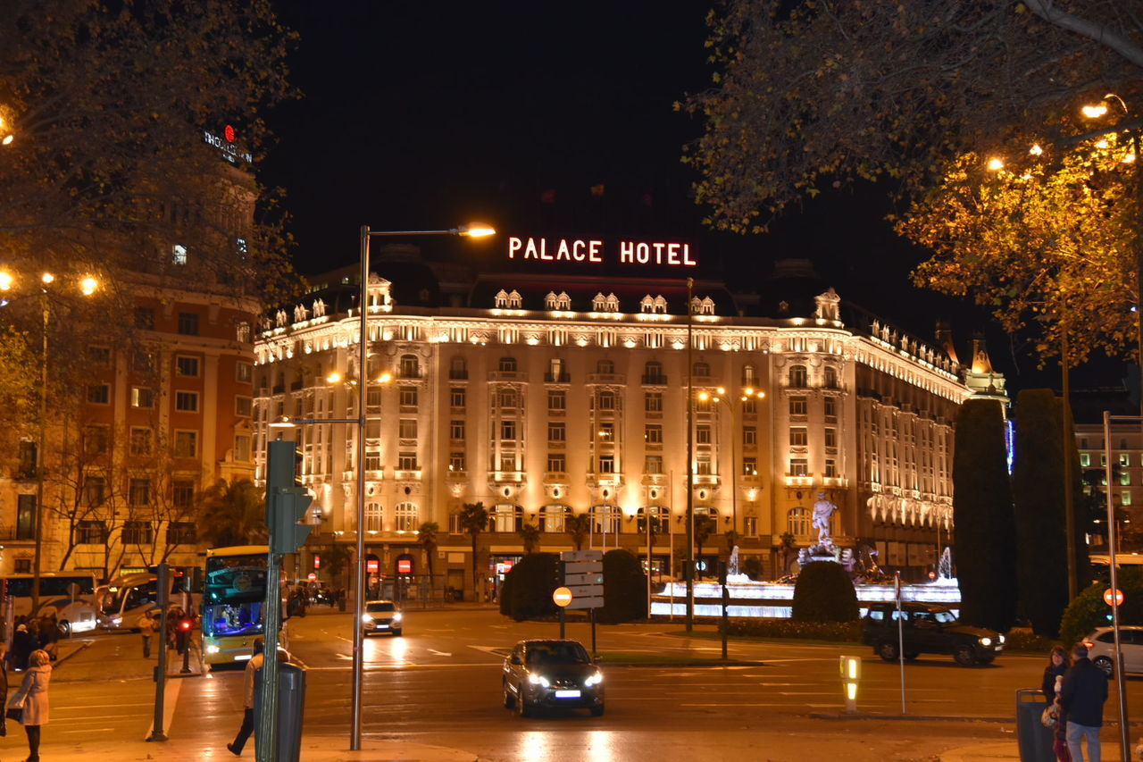 Merry Christmas Everyone Hotel Palace Night Illuminated City Street Architecture