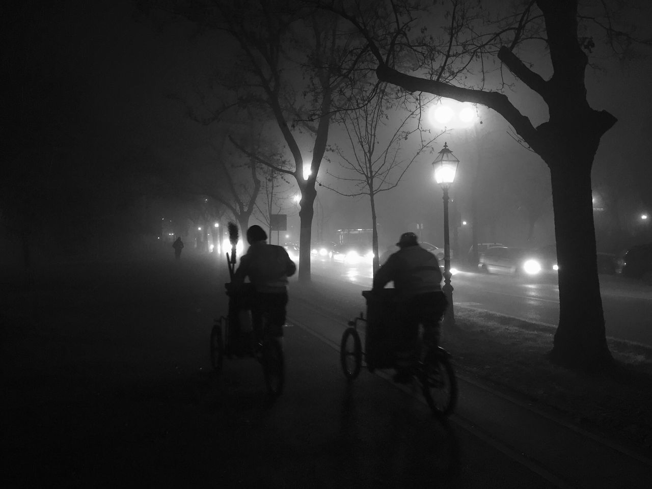 """Garbagemen driving through extensive """"Carpenter style"""" night fog in Zagreb, Marulicev square, Croatia, Dec 9, 2016. Marulicev Square Zagreb Croatia Fog Foggy Night Fog Night Garbageman Waste Collector Bicycle Night Lights Transportation Silhouette Bare Tree Carpenter Dramatic Visibility The City Light"""
