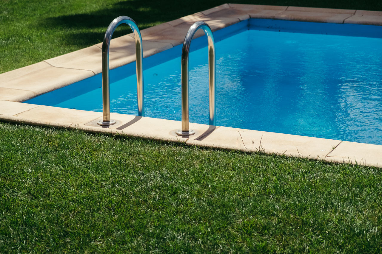 Beauty In Nature Blue Blue Wave Day Grass Grass High Angle View Leisure Activity Light And Shadow Nature No People Outdoors S Sky Springtime Stairs Summer Sunlight Swimming Swimming Pool Water