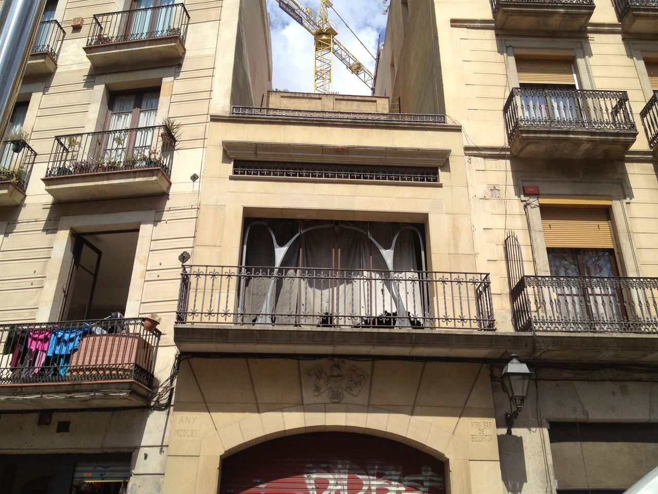 Architecture Balconies Balcony Building Exterior Built Structure Creativity Day European Apartm French Door Low Angle View No People Outdoors Ramblas Sky Street Streetphotography View Of Window Window