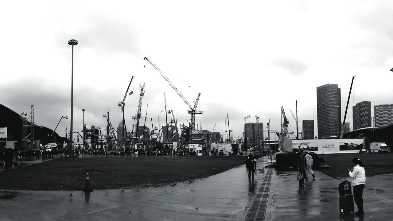 Construction Machinery Bauma China 2016 Large Group Of People Shanghai, China Mobile Photography Machinery Buildings & Sky Celebration The Ceremony 2016 Black And White