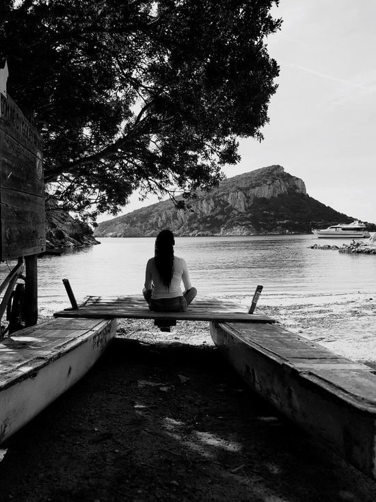 Nature Beauty In Nature Tree Water Portrait Woman Portrait People And Places Landscape Sea And Sky Seascape Seaside Sea View Blackandwhite Black And White Monochrome Photography Relaxing Olbia  Sardegna Golfo Aranci Italy My Year My View