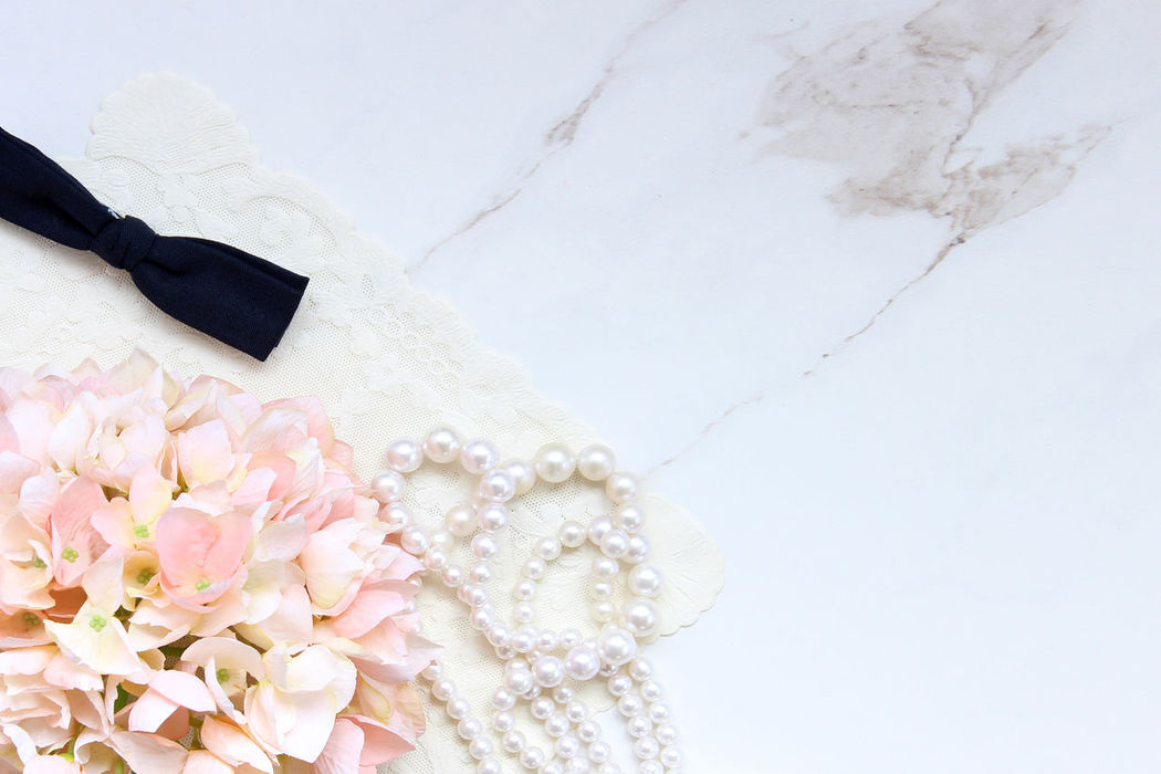 Wedding day Accessories Background Bouquet Copy Space Directly Above Fashion Feminine  Flower Flower Head Formal Wear Frame Hydrangeas Marble Mock Up Nature Pearls Pink Pink Color Spring Studio Shot Styled Summer Wedding White