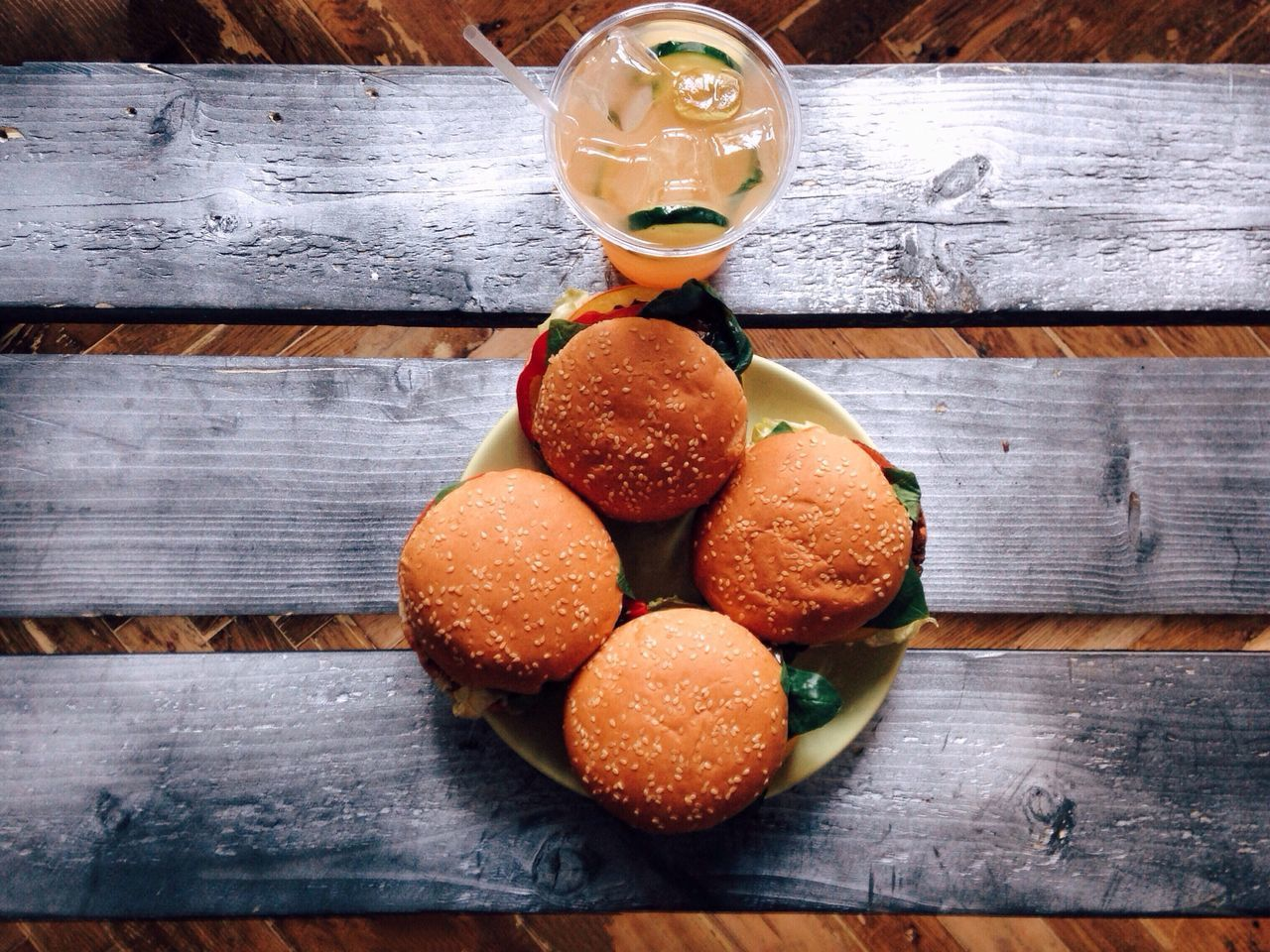 Burgers and fresh drink Wood - Material Food And Drink Freshness Indoors  Fruit Healthy Eating No People Food Food And Drink Drink Burger