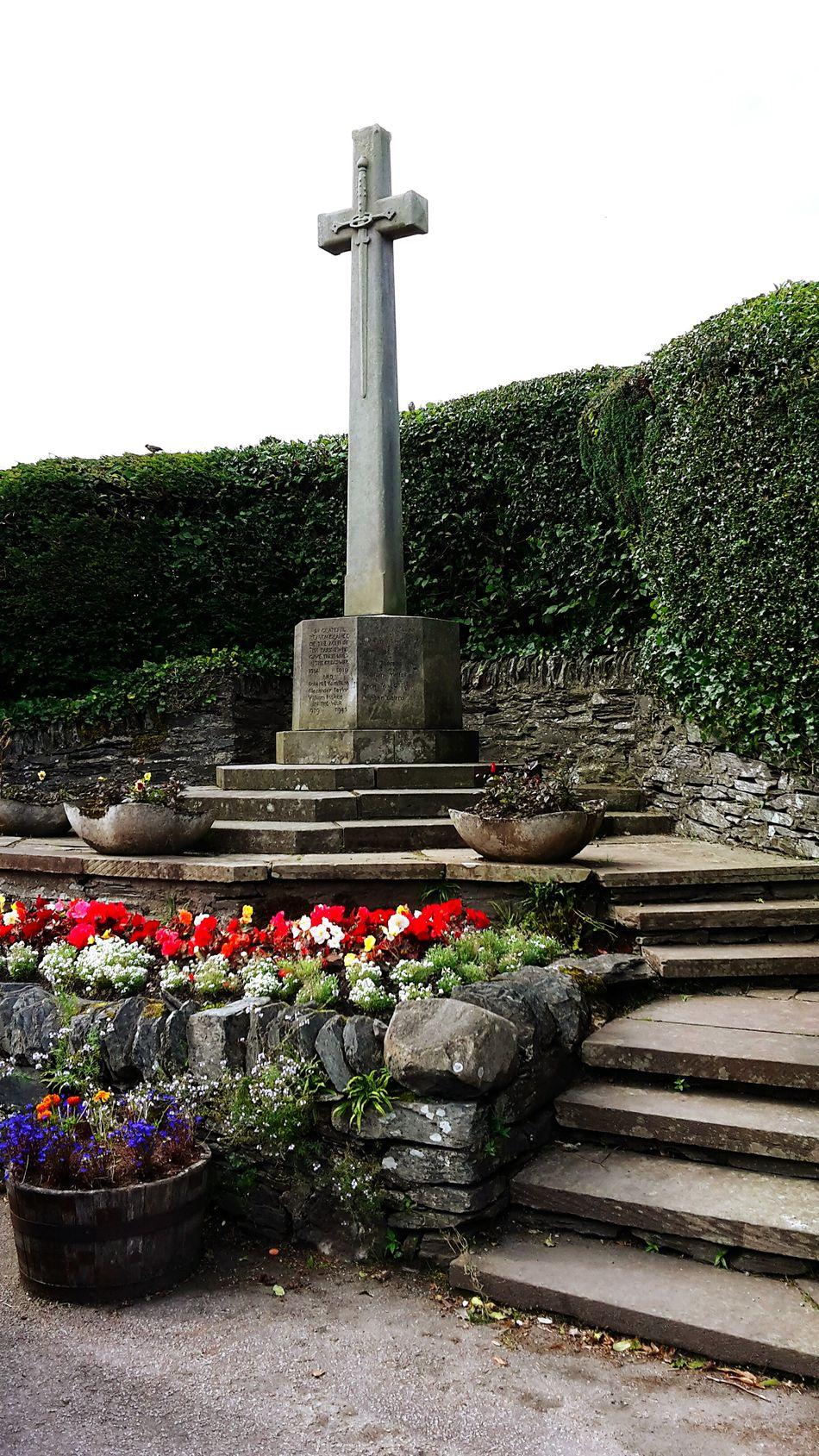 Scotland Loch Lomond Flower Cross Sword Decoration Outdoors Architectural Column Stone Cross