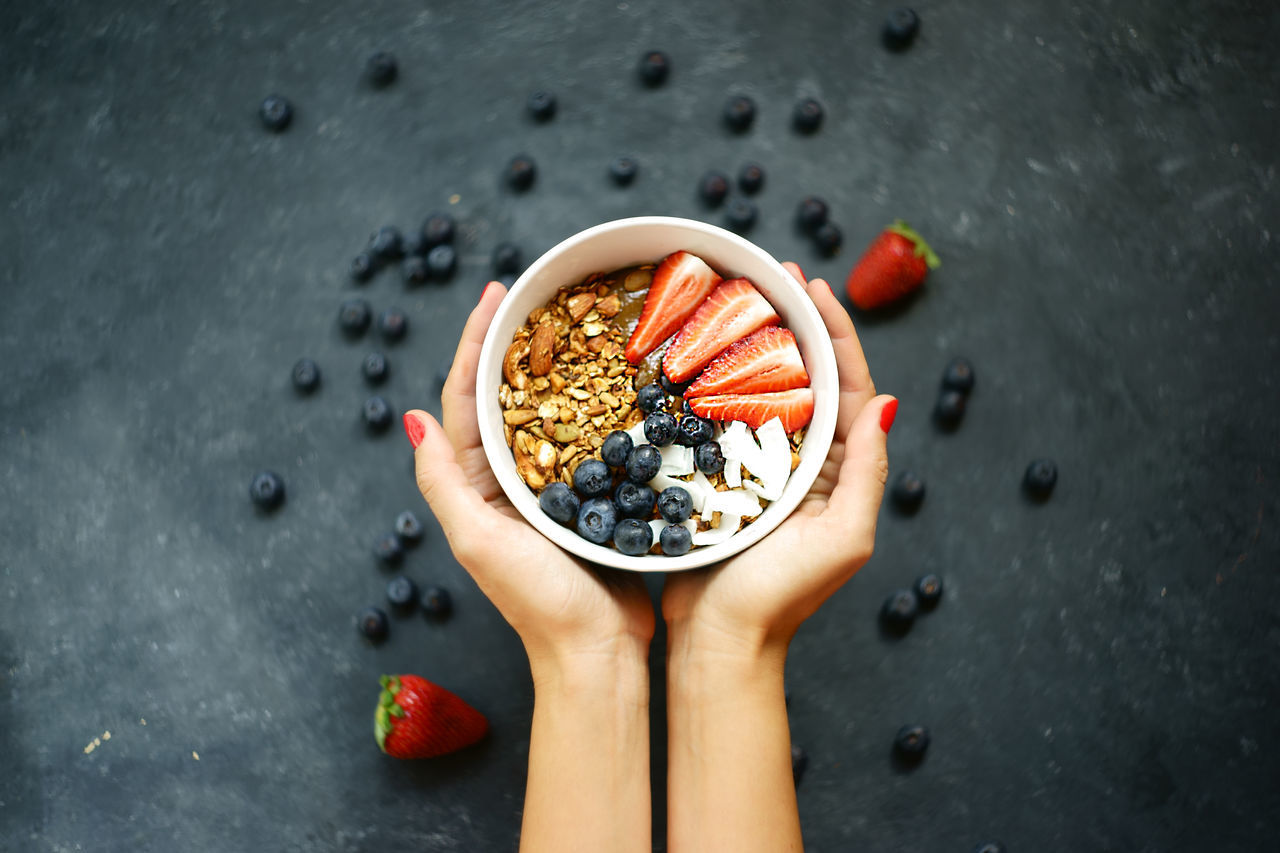Cropped Hands Of Woman Holding Breakfast In Bowl