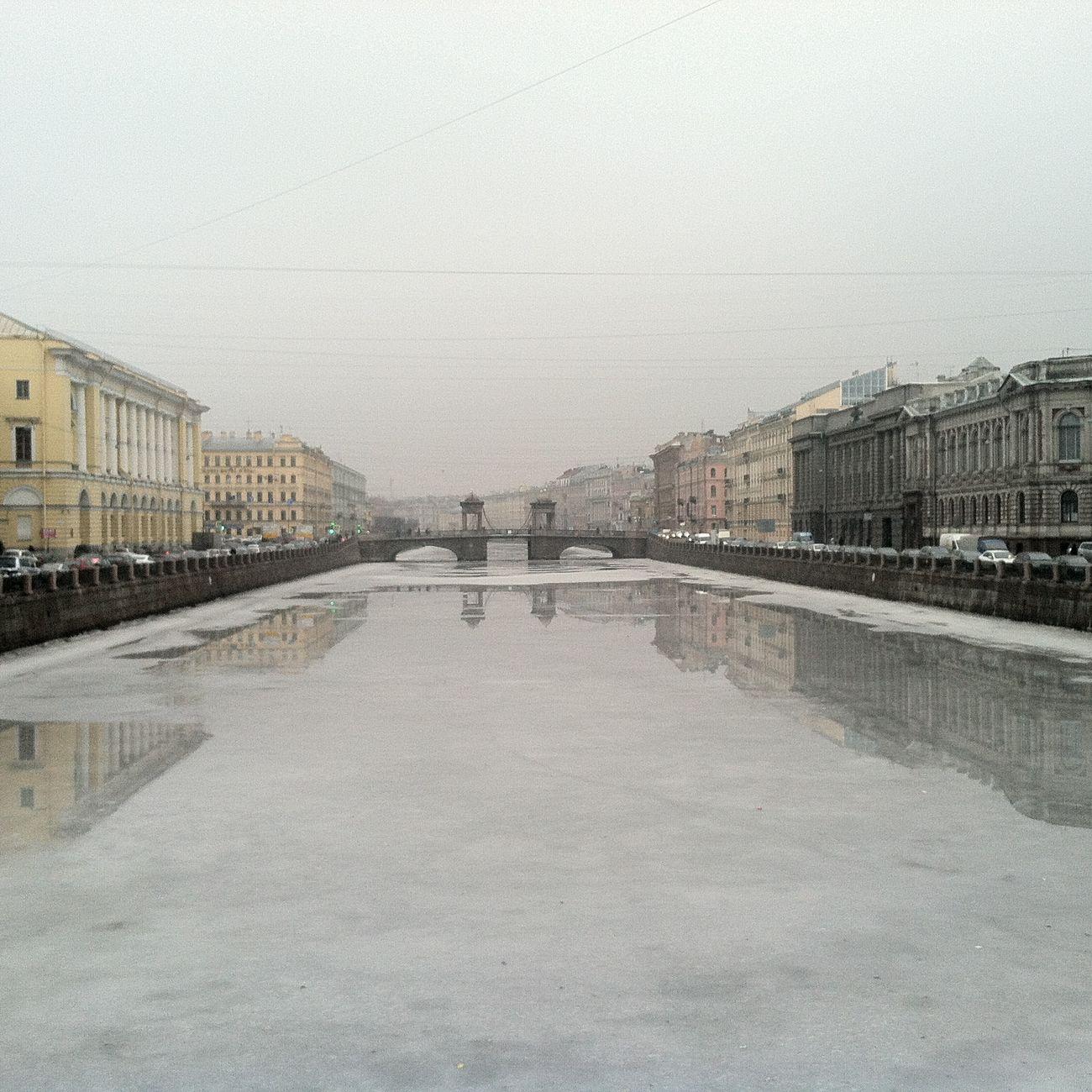 туман Фонтанка петербург мост Saint Petersburg Bridge Gray
