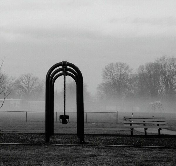 Fog Tree Weather Sky No People Outdoors Day Nature Bare Tree Tranquility Swingset Foggy Morning Tranquil Scene Park Eyeem This Week Parks And Recreation Parkbench Swingtime