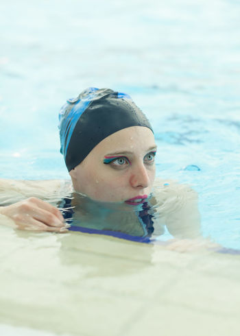 Blue Eyes Girl Make Up Natural Light Pool Portrait Portrait Of A Woman Synchronized Swimming The Portraitist - 2016 EyeEm Awards
